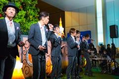 Grupo permanente de la pieza vocal de los pescados en Tokio Foto de archivo