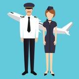Grupo piloto da cabine do comparecimento do voo da comissária de bordo no plano uniforme Foto de Stock