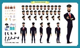 Grupo piloto da criação do caráter Ícones com tipos diferentes de caras e penteado, emoções, parte dianteira, parte traseira, opi ilustração royalty free