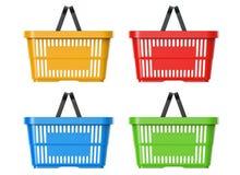 Grupo plástico da cesta, ilustração 3d Fotos de Stock Royalty Free