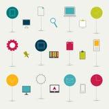 Grupo plano minimalistic de sinais alinhados. Imagens de Stock