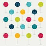 Grupo plano minimalistic de sinais alinhados. Imagem de Stock Royalty Free