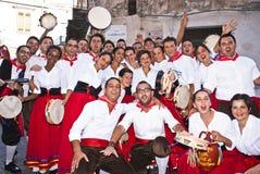 Grupo popular siciliano de Polizzi Generosa Imagens de Stock
