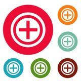 Grupo positivo do círculo dos ícones Fotos de Stock