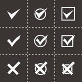 Grupo preto do ícone das marcas de verificação do vetor Imagens de Stock Royalty Free