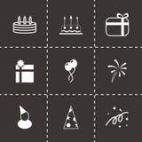 Grupo preto do ícone do aniversário do vetor Imagens de Stock Royalty Free