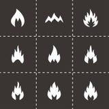 Grupo preto do ícone do fogo do vetor Imagem de Stock