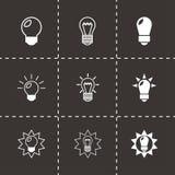 Grupo preto do ícone dos bulbos do vetor Imagem de Stock Royalty Free