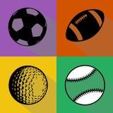 Grupo preto do vetor das bolas do esporte Foto de Stock Royalty Free