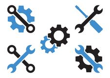 Grupo preto e azul de ícone das ferramentas Vetor ilustração stock