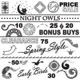 Grupo preto e branco da coleção da venda de catálogo Fotos de Stock Royalty Free