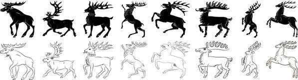 Grupo preto e branco da silhueta dos cervos e dos alces Fotos de Stock Royalty Free