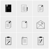 Grupo preto e branco de ícones Foto de Stock