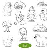 Grupo preto e branco de animais e objetos, família dos ursos ilustração royalty free