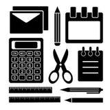Grupo preto e branco de artigos de papelaria Fontes de escrit?rio Vetor ilustração stock
