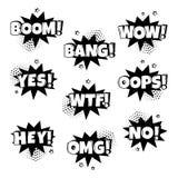 Grupo preto e branco de bolhas cômicas do discurso com emoções diferentes Ilustra??o do vetor ilustração royalty free
