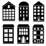 Grupo preto e branco de construção Imagens de Stock Royalty Free