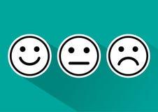 Grupo preto e branco de humor positivo, neutro e negativo, diferente do ícone dos emoticons do smiley Ilustra??o do vetor ilustração stock