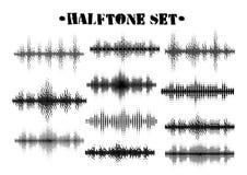 Grupo preto e branco de intervalo mínimo dos testes padrões da onda sadia Elementos do projeto da música da tecnologia isolados n fotografia de stock royalty free