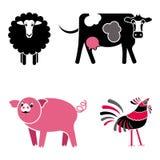 Grupo preto e cor-de-rosa bonito do vetor dos animais de exploração agrícola ilustração stock