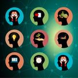 Grupo principal da silhueta do conceito do funcionamento do cérebro ilustração royalty free
