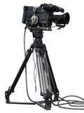 Grupo profissional da câmara de vídeo em um tripé isolado sobre o branco Imagens de Stock