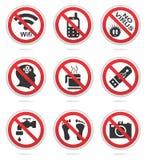 Grupo proibido do ícone Fotografia de Stock