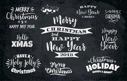 Grupo projetos de rotulação do Natal e do ano novo feliz ilustração do vetor