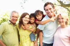 Grupo prolongado de família que aprecia o dia