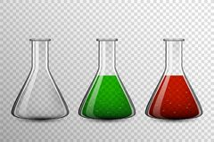 Grupo químico transparente do bulbo de vidro, garrafa do vetor imagem de stock