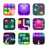 Grupo quadrado colorido brilhante engraçado dos ícones do app Exemplos do logotipo da loja da aplicação ilustração do vetor