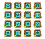 Grupo quadrado do menu dos botões dos desenhos animados Imagem de Stock Royalty Free