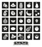 Grupo quadrado do vetor do ícone da variedade do fruto ilustração royalty free