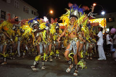Grupo que dança foliões novas do carnaval fotografia de stock royalty free
