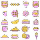Grupo rabiscado do ícone do alimento Fotografia de Stock Royalty Free