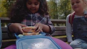 Grupo racial mezclado de niños de la escuela que comen el almuerzo junto en rotura al aire libre cerca de escuela De nuevo a conc almacen de metraje de vídeo