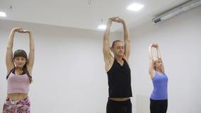 Grupo racial multi de la clase de la yoga que ejercita forma de vida sana en asanas de la yoga del estudio de la aptitud almacen de video