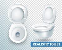 Grupo realístico da bacia de toalete ilustração stock