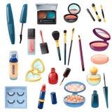 Grupo realístico da composição dos cosméticos das senhoras ilustração do vetor