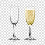 Grupo realístico da ilustração do vetor de vidros transparentes do champanhe com vinho branco efervescente e vidro vazio Fotografia de Stock Royalty Free