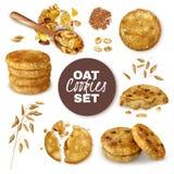 Grupo realístico das cookies de farinha de aveia ilustração royalty free