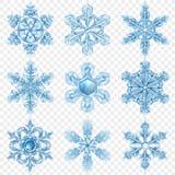 Grupo realístico do ícone do floco de neve ilustração do vetor