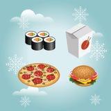 Grupo realístico do fast food O hamburguer isolado, pizza, sushi, rola Fast food no inverno da neve Fast food do Natal ou do ano  ilustração royalty free