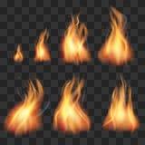 Grupo realístico do vetor das chamas dos duendes da animação do fogo ilustração royalty free