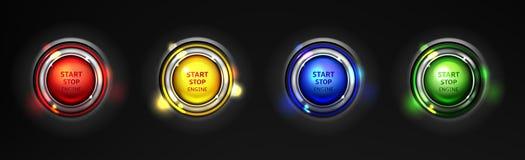 Grupo realístico do vetor dos botões de parada do começo do motor ilustração do vetor
