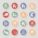 Grupo redondo do ícone dos bens imobiliários Ilustração do vetor Imagem de Stock