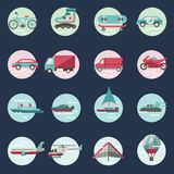 Grupo redondo dos ícones do transporte Fotos de Stock Royalty Free