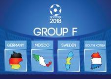 Grupo redondo final del fútbol de Rusia en color de la bandera del icono del mapa ilustración del vector