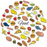 Grupo redondo tirado mão do alimento colorido Fotografia de Stock