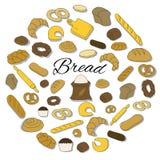 Grupo redondo tirado mão do ícone colorido do pão Imagem de Stock Royalty Free